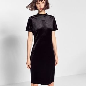Zara Trafaluc Black Velvet Midi Dress, Size M